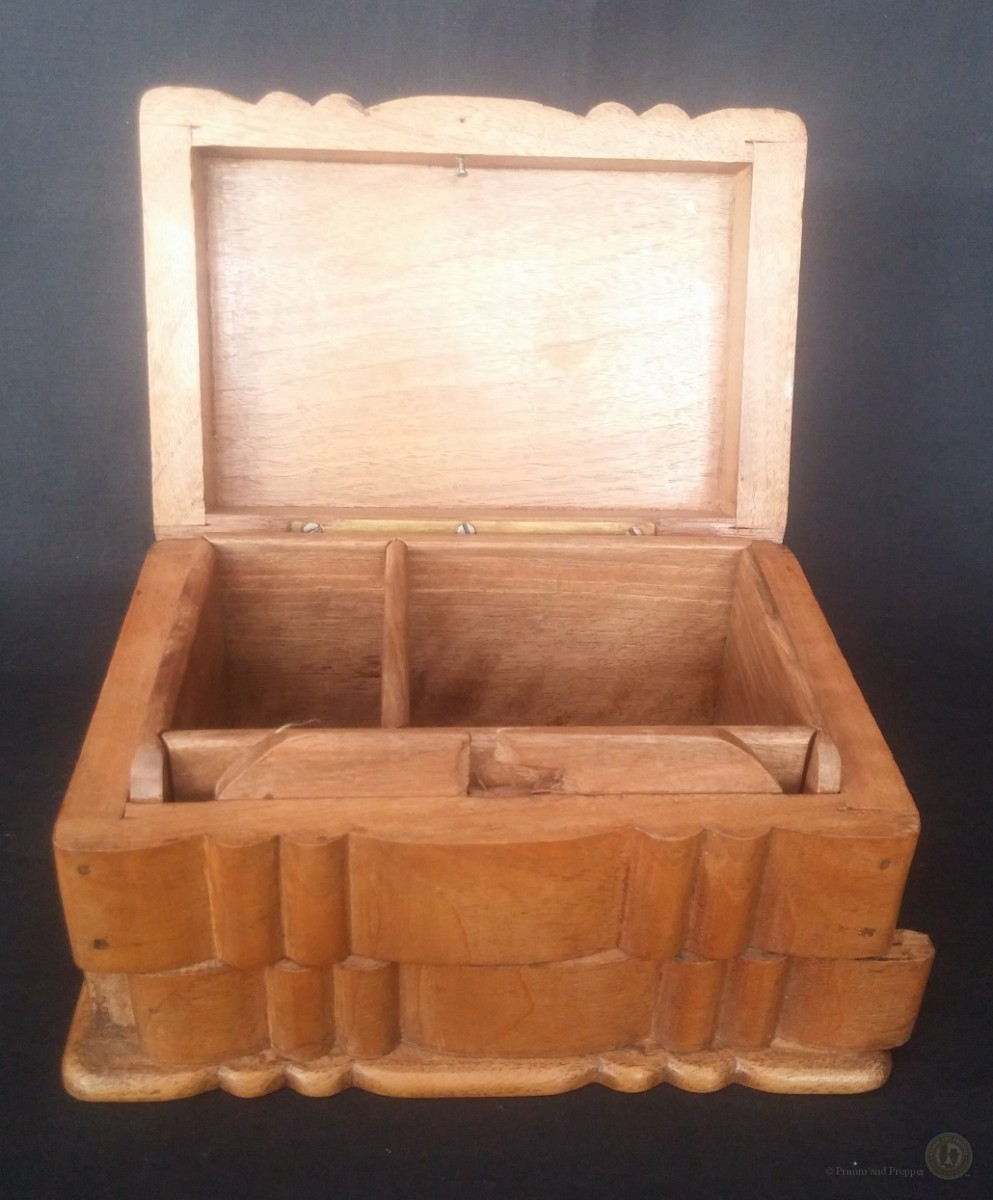 Vintage Wooden Box With Secret Slide Front Lock 165cm Long