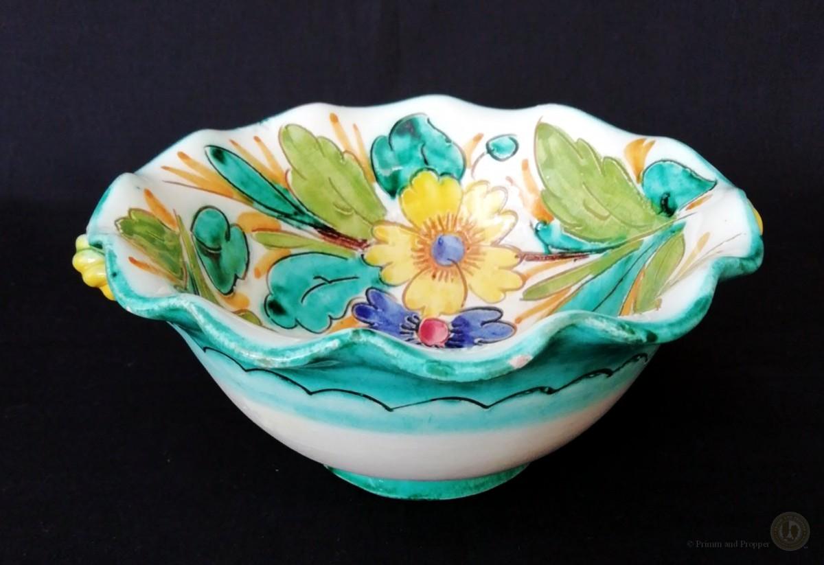 Vintage Italian Sgraffito Pottery Bowl Provincial Style